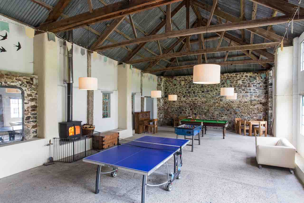 The games barn at Clifford barton with table tennis, snooker and table football table